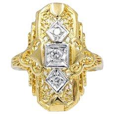 14k Yellow Gold Filigree Diamond Ring