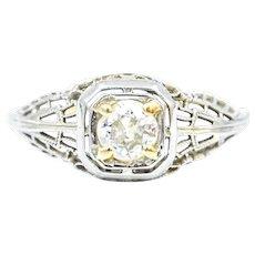 18k Filigree Edwardian Diamond Ring