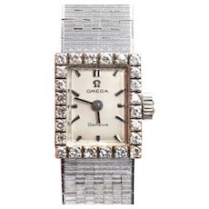 Ladies Omega Geneve 18k Diamond Bezel Wrist Watch