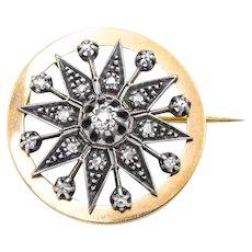Victorian 14k Starburst Diamond Pin Pendant