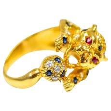 18k Diamond Sapphire Ruby Panther Ring