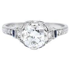 Art Deco 1+ Carat Diamond Sapphire Platinum Filigree Ring