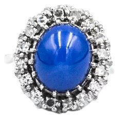 14k Synthetic Star Sapphire Diamond Halo Ring