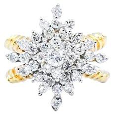 1.25 CTW Diamond Cluster 18k Statement Ring