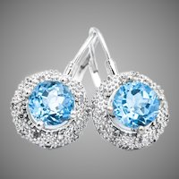 14k Blue Topaz Diamond Halo Leverback Earrings