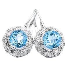 14k Blue Topaz Diamond Halo Leverback Earrings
