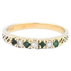 14k Emerald Diamond Band Ring