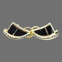14k Onyx Inlay Diamond Earrings