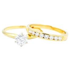 3/4 Carat TW Diamond Bridal Set In 14k Yellow Gold