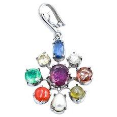 Navaratna 9-Stone Sterling Silver Pendant For Necklace