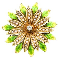 Art Nouveau Floral Pearl Diamond Enamel Pin Brooch Pendant