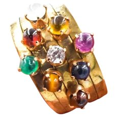 Multiband Multistone Stacked Ring Set 14KY Gold