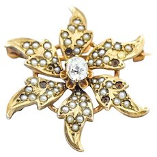 Victorian Era Pearl Diamond Flower Brooch Pin Pendant