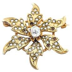 Victorian Era Pearl Diamond 14KY Flower Brooch Pin Pendant