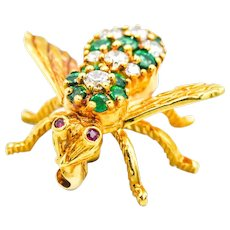 18KY Gold Emerald Diamond Ruby Bug Pin Pendant
