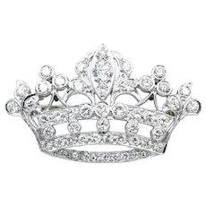 Platinum 1.50 CTW Diamond Royal Crown Brooch Pin Pendant