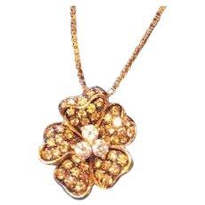 18k Clover Flower Pendant with White & Cognac Diamonds Estate Jewelry Necklace