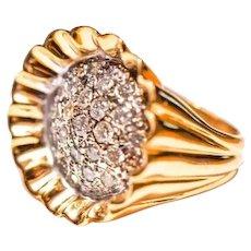 1.50 Carats of Diamonds 14K Cupcake Gold Ring