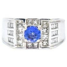Unisex Tanzanite Diamond 18KW Gold Ring