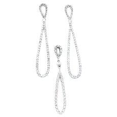 1.75 CTW Diamond Dangle Earrings & Pendant Set In 14KW