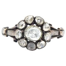 1800's Georgian Antique 1.50 CTW Rose Cut Diamond Halo 9k Gold Ring
