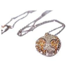 14k Diamond Citrine Pavé Heart Pendant Necklace