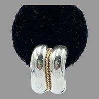 Authentic Tiffany & Co. 925 Sterling Silver 14K 585 Gold Rope Stud Earrings