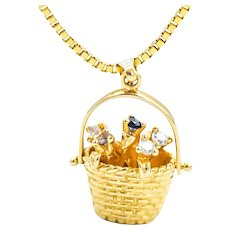 14k Diamond Sapphire Topaz Flower Basket Pendant Necklace