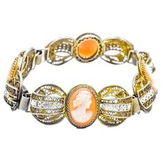 .800 Silver Mesh Cameo Link Bracelet