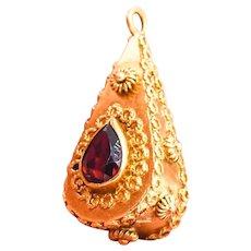 Venetian Etruscan 18KY Gold Garnet Teardrop Fob Charm Pendant