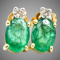 Emerald Diamond Earrings In 14KY Gold
