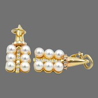 Pearl Diamond 14KY Gold Dangle Earrings
