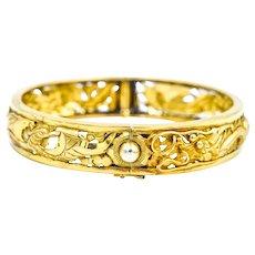 22K Yellow Gold Dragon Hinged Cuff Bracelet