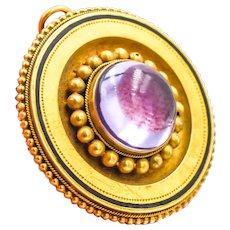 Victorian Era 18KY Gold Amethyst Brooch Pin Pendant