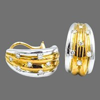 14K Two-Tone 0.42 TW Diamond Earrings