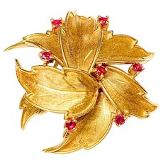 Estate 50's 60's 18k Ruby Pin Floral Brooch
