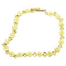 """14KY Gold Flower Leaf 7"""" Bracelet"""