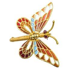 18k Ruby Enamel Butterfly Brooch