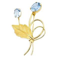 Van Dell 14KY Gold Aquamarine Blue Topaz Pin Brooch