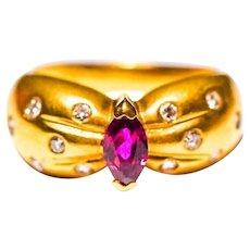 Estate Vintage 18k Genuine Ruby Diamond Ring