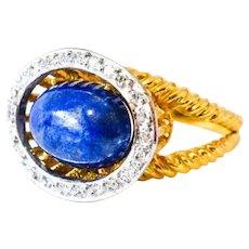 Estate 18K Lapis Lazuli Diamond Ring