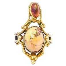 Estate Boulder & Fire Opal 14k Statement Ring