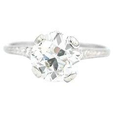 Art Deco Platinum 2.01 Carat J SI1 Diamond Ring