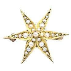 Victorian Era 14k Seed Pearl Starburst Brooch Pin Pendant