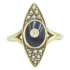 Antique 14k Onyx Seed Pearl Diamond Navette Ring