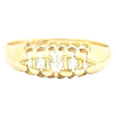 Antique 5-Stone Rose Cut Diamond 18k Gold Ring
