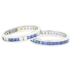 14k Sapphire & Diamond Stacking Bands