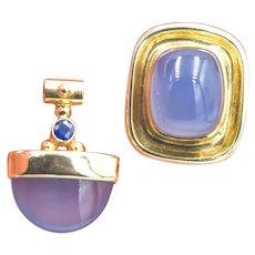14k Gold Chalcedony Sapphire Ring & Pendant Set