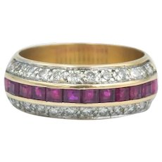 14k Ruby Diamond Wide Stacking Band