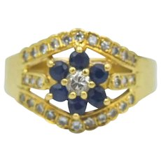 18k Gold Natural Sapphire Diamond Split Band Ring